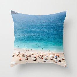 Beach, Coastal, Ocean, Sea, Water, Nature, Modern, Minimal, Interior, Wall art Throw Pillow