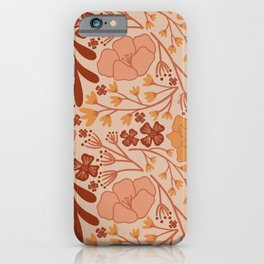 Flower and Leaf Pattern - Fall Colors iPhone Case