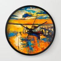 boat Wall Clocks featuring Boat by BOYAN DIMITROV
