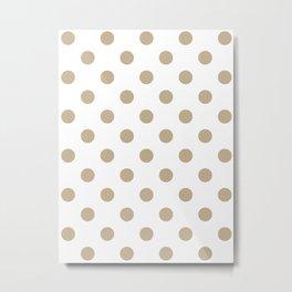 Polka Dots - Khaki Brown on White Metal Print