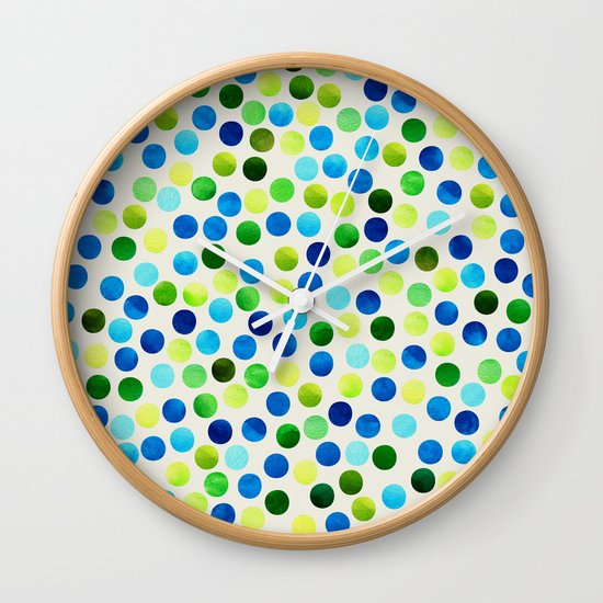 Watercolor Dots_Aqua by Jacqueline and Garima Wall Clock