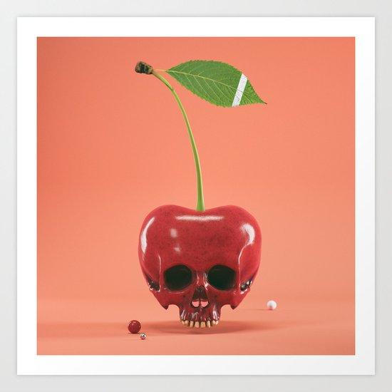 Cherry Skull Art Print