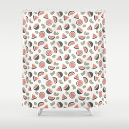 Early Summer Watermelon White Shower Curtain