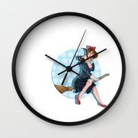 kiki Wall Clocks featuring Modern Kiki by Nicola Davies