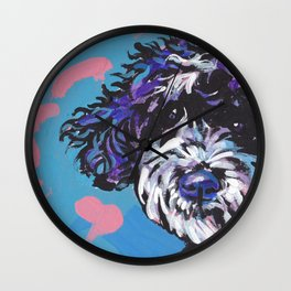 PWD Portuguese Water Dog Fun bright colorful Pop Art Dog Paintingby Lea Wall Clock