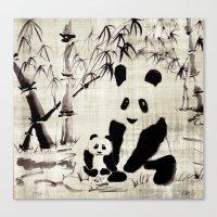 pandas Canvas Prints featuring Pandas by Michelle Scott