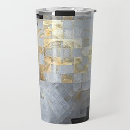 Squares in Gold and Silver Travel Mug