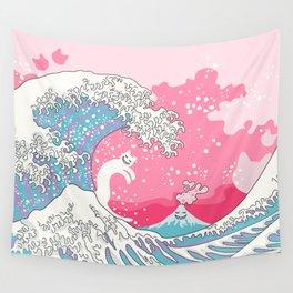 Psychodelic Bubblegum Kunagawa Surfer Cat Wall Tapestry