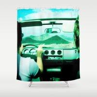 jeep Shower Curtains featuring Roadtrip NO4 by Julia Aufschnaiter