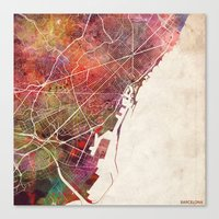 barcelona Canvas Prints featuring Barcelona by MapMapMaps.Watercolors