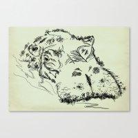 hippo Canvas Prints featuring Hippo by Julia Kisselmann