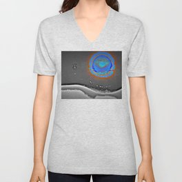 Abstract Landscape Series | Blue Moon Over Night Waters |  | Nadia Bonello Unisex V-Neck