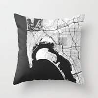 san diego Throw Pillows featuring San Diego Map Gray by City Art Posters