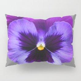 GREY MODERN ART SINGLE PURPLE PANSY Pillow Sham