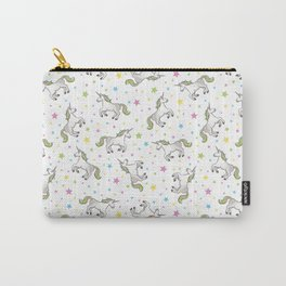 Unicorns and Stars - White and Rainbow scatter pattern Carry-All Pouch