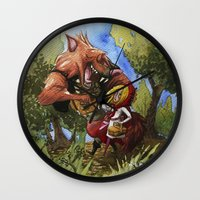 red hood Wall Clocks featuring Red Hood by Jose Luis Ocana