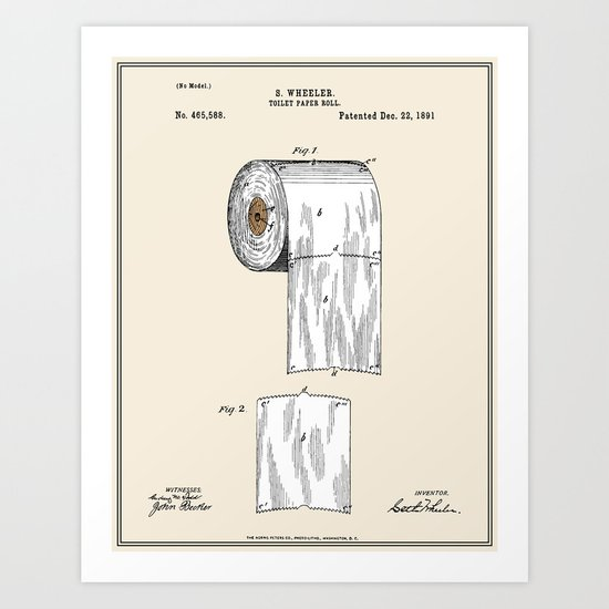 Toilet Paper Roll Patent Colour Art Print By Finlay