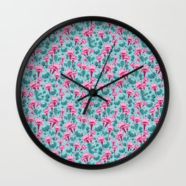 Pink & Teal Lovely Floral Wall Clock
