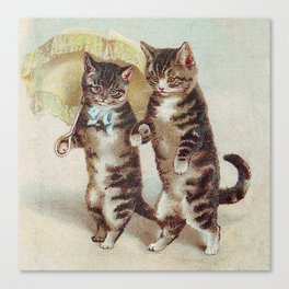 Vintage Cats Walking with Parasol Canvas Print