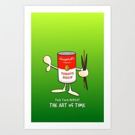 Tomato soup clock (green) Art Print