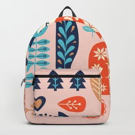 Soft And Sweet Scandinavian Fox Folk Art Backpack