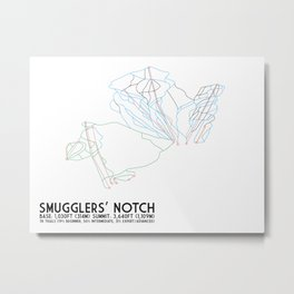 Smugglers' Notch, VT - Minimalist Trail Art Metal Print