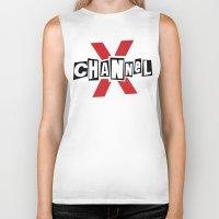 channel Biker Tanks featuring Channel X by Popp Art