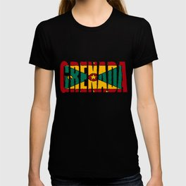 Grenada Font with Grenadine Flag T-shirt
