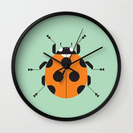 Lady Bug Green Wall Clock