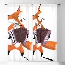 Cute red cartoon fox with an accordion Blackout Curtain