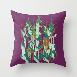 Babel architecture - night view green Throw Pillow