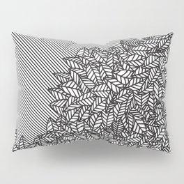 Modern Hand Drawn Foliage Leaves and Stripes Pillow Sham