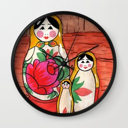 Bookshelf Matryoshkas Wall Clock
