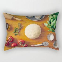 Ingredients for making pizza Rectangular Pillow