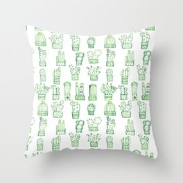 Cacti Collection Throw Pillow