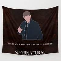 winchester Wall Tapestries featuring Supernatural - Dean Winchester by MacGuffin Designs