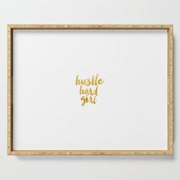 Hustle Hard Girl, Girl Quote, Golden Art Serving Tray