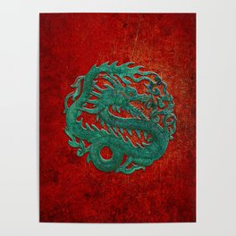 Wooden Jade Dragon Carving on Red Background Poster
