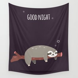 Sloth card - good night Wall Tapestry