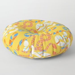 Snakes on Yellow Floor Pillow