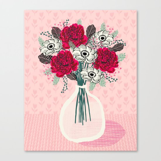 Peony Vase of flowers mother's day art print greeting card Andrea Lauren illustration Canvas Print