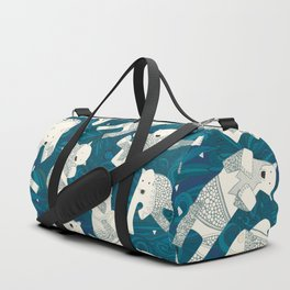 arctic polar bears blue Duffle Bag