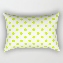 Small Polka Dots - Fluorescent Yellow on White Rectangular Pillow