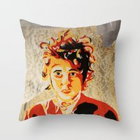 dylan Throw Pillows featuring Dylan by Ben Brush