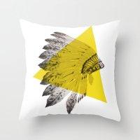 headdress Throw Pillows featuring headdress by morgan kendall
