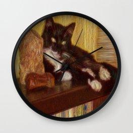 Little Black Rainbow Cat Wall Clock