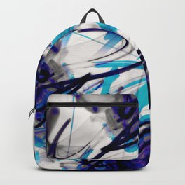 All Over Abstract Pollock Style Aqua and Blue Backpack