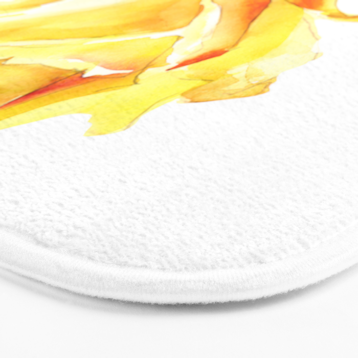 Single Yellow Rose Watercolour Painting Bath Mat By Context Society6