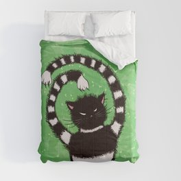 Evil Kitty Chasing Flies In Green Leaves Cat Lover Comforters
