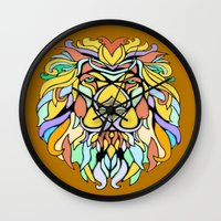 metallic Wall Clocks featuring Metallic Lion by J&C Creations